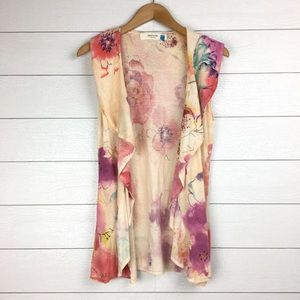 Sparrow Floral Sleeveless Ruffled Sweater